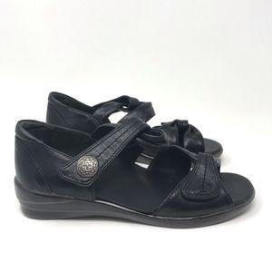 Ziera Black Leather Sandals Size 5